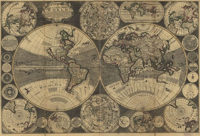 A new and correct map of the world : laid down according to the newest observations & discoveries in several different projections including the trade winds, monsoons, variation of the compass, and illustrated with a coelestial planisphere, the various systems of Ptolomy, Copernicus, and Tycho Brahe together with ye apearances of the planets &c. /