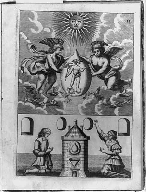 [Alchemical scene showing two putti holding philosopher's stone containing image of Hermes, below which are a man and a woman kneeling before furnace where transmutation is to take place]