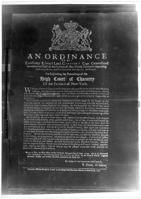 An ordinance of His Excellency Edward Lord Cornbury, Capt. General and Governour in chief of the Province of New York ... For suspending the proceedings of the High Court of Chancery of the Province of New York. Given at Fort William Henry in Ne