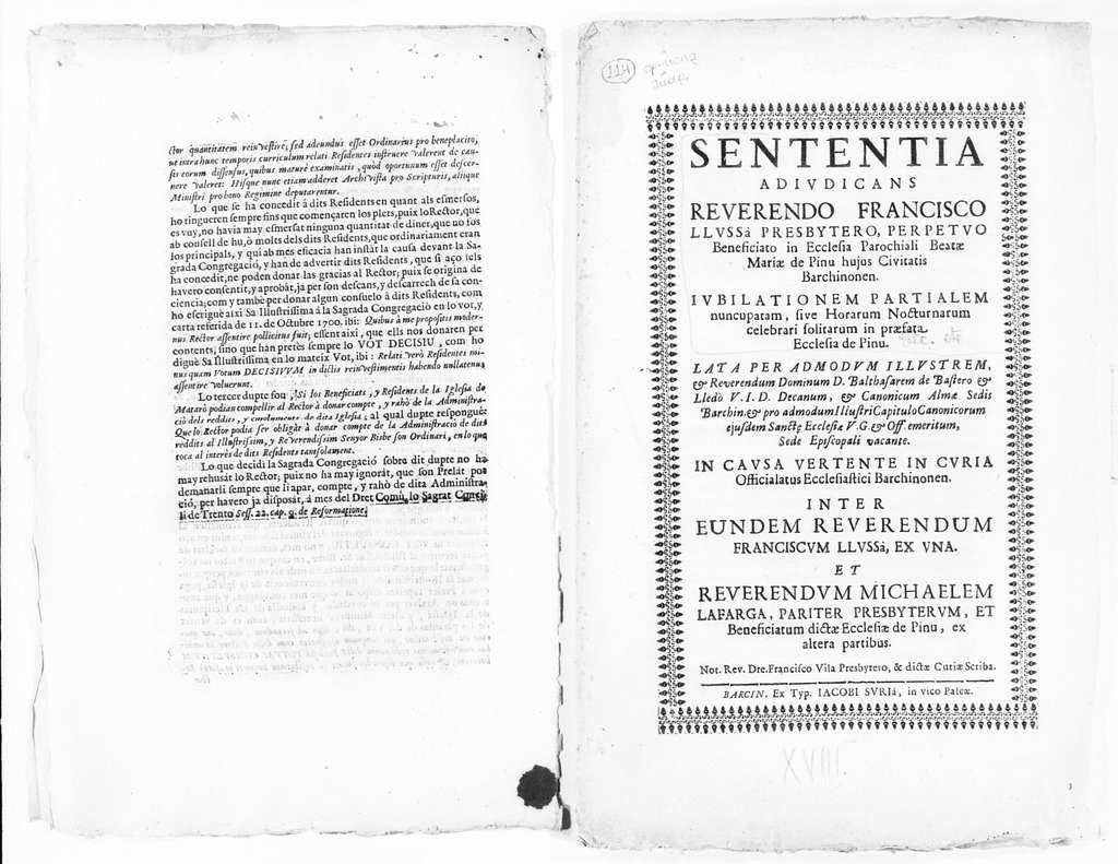 Judgment of April 1, 1702 issued by the Cardinals in charge of the interpretation of the Council of Trento on behalf the Reverend Rector of the parish of the city of Mataró in his case against several members of the community of Prat, concerning certain p