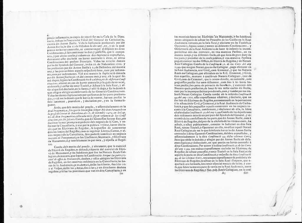 Judgment of June 19, 1703 issued by Miguel de Calderó on behalf Antonio Batlle, a clerk of the Civil Registry and a Notary Public of the Lieutenancy of the Princedom of Catalonia in the case against the General Syndic of Catalonia for alleged misrepresent