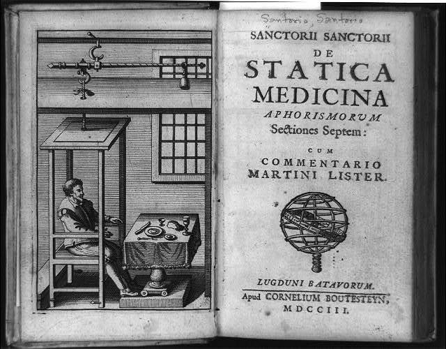 [Santorio Santorio seated in weighing chair in front of table, part of his quantitative approach to medicine, and title page of De statica medicina aphorismorum]
