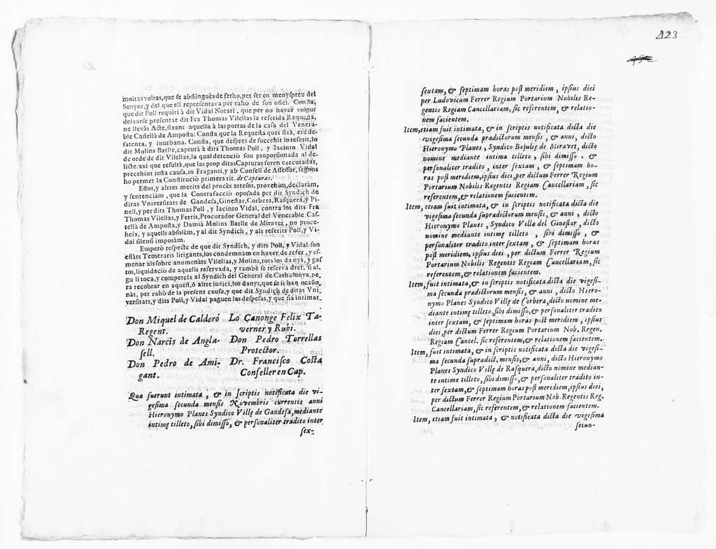 Judgment of November 16, 1704 issued by Ramón Pellicer on behalf Tomás Vilellas Ferris and Damián Molins Batlle in the case against the Syndics of the villages of Gandesa, Ginestar, Corbera, Rasquera, Pinell, Tomás Poll Pagés and Jacinto Vidal for unlawfu