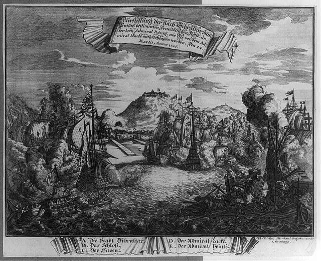 Fürstllung der nach Gibraltar zum Entsatz bestimmten Französischen Flotte unter dem Admiral Pointy, wie Sie von dem Admiral Lacke aufgeschlagen worden den 24. Martii, Anno 1705