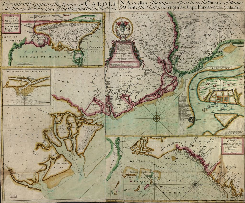 A compleat description of the province of Carolina in 3 parts : 1st, the improved part from the surveys of Maurice Mathews & Mr. John Love : 2ly, the west part by Capt. Tho. Nairn : 3ly, a chart of the coast from Virginia to Cape Florida /