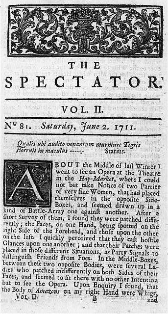 Page 1 of The Spectator, (London, 1712-17), no. 81; Sat., June 2, 1711