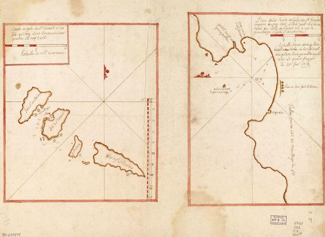 Carte de l'Isle de St. Vincent et des isle quiluq sont sirconvoisinne proche le Cap Vert ; Plan de la rade de l'Isle de St. Vincent aupres du Cap Vert situe pao 16 d. 50 m. nord du coste de l'ouest vis a vis le mouillage de l'Isle St. Anthoine.
