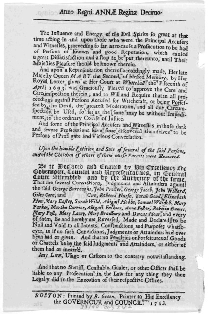 Regni Annae Reginae decimo. Province of the Massachusetts-Bay. An act made and passed by the great and General Court or Assembly of Her Majesty's province of the Massachusetts-Bay in New-England, held at Boston the 17th day of October, 1711. An