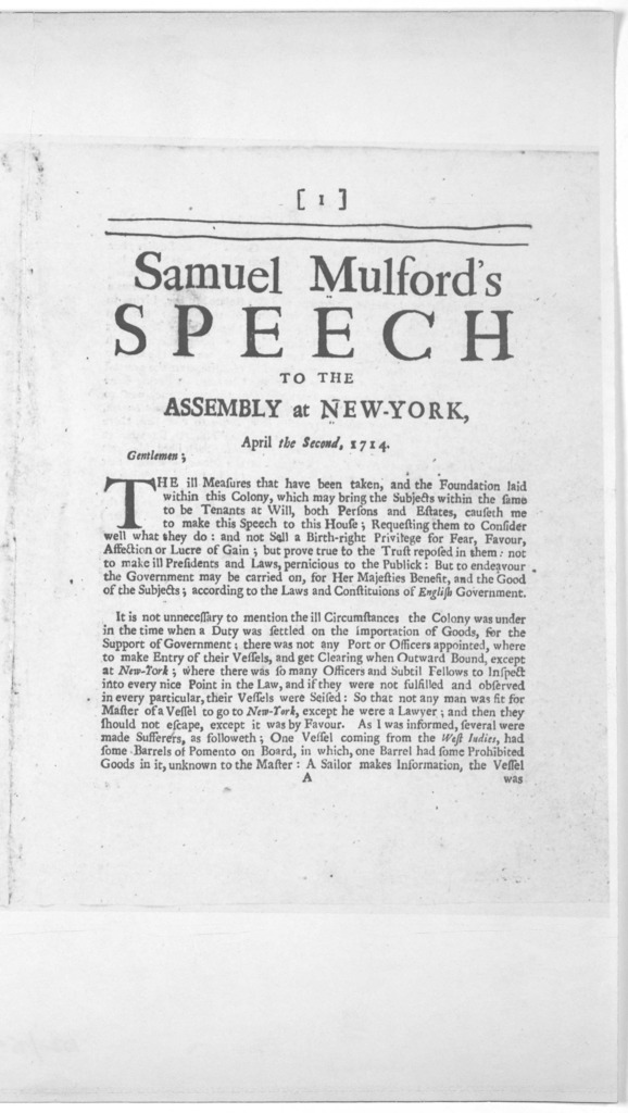 Samuel Mulford's speech to the Assembly at New York. April second 1714. [New York: Printed by William Bradford, 1714].