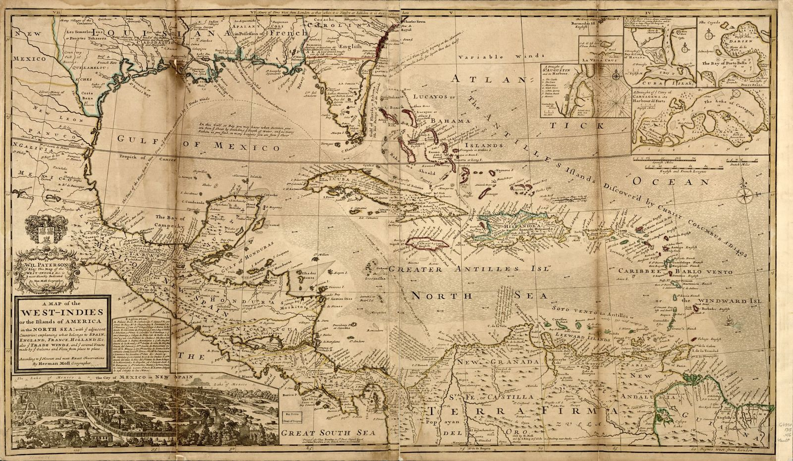 A map of the West-Indies or the islands of America in the North Sea; with ye adjacent countries; explaning [sic] what belongs to Spain, England, France, Holland &c. also ye trade winds, and ye several tracts made by ye galeons and flota from place to place. According to ye newest and most exact observations,
