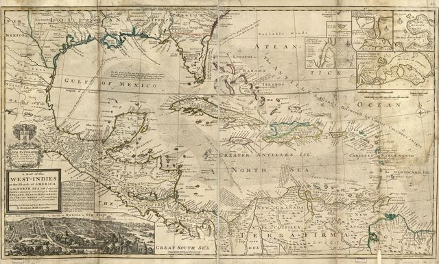 A map of the West-Indies or the islands of America in the North Sea; with ye adjacent countries; explaning [sic] what belongs to Spain, England, France, Holland, &c. also ye trade winds, and ye several tracts made by ye galeons and flota from place to place.