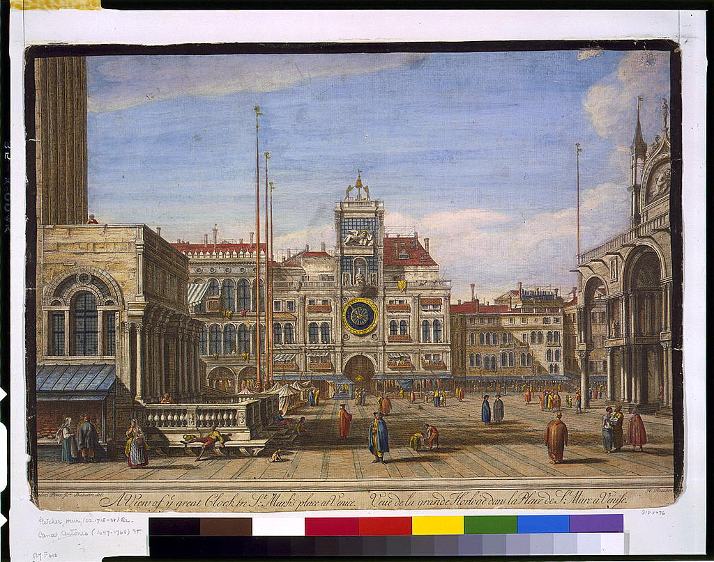 A view of ye great clock in St. Mark's place at Venice / [Can]aleti pinx ; Jos. Baudin, del. ; H. Fletcher [sculpsit].