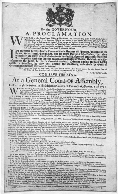 By the governour, a proclamation Whereas at the General Court holden at New Haven, the thirteenth day of this present month, ... it was agreed and resolved by the following act, that the several laws formerly made for the suppressing and punishi