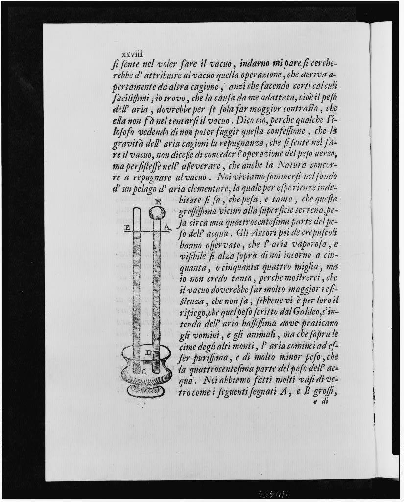 [Tubes containing mercury with vacuum at top showing development of first barometer capable of measuring atmospheric pressure, includes page of text]