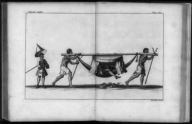 [Natives carrying European in covered hammock]