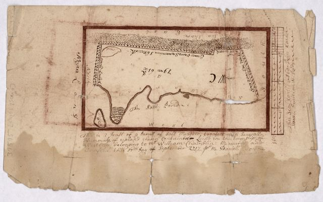 This is a draft of a parcell [i.e. parcel] of salt meadow together with severall [i.e. several] hummuks [i.e. hummocks] of upland therein contained lying in the township of Westerly belonging to Mr. William Champlin : measured and drafted this 17th day of September 1717 for M[r.] Daniell [i.e. Daniel] Brown.