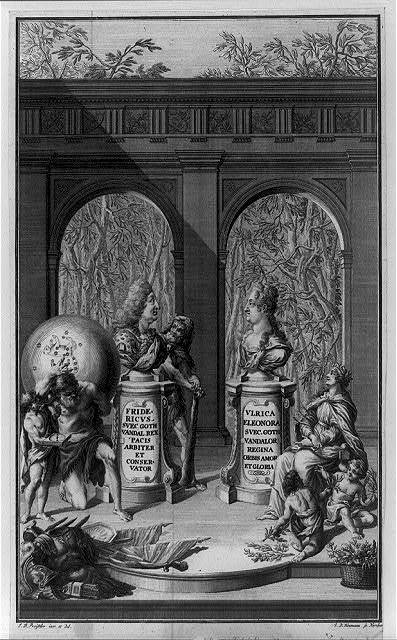 [Busts of Frederick I and Ulrica Eleonora, King and Queen of Sweden, with allegorical figures]