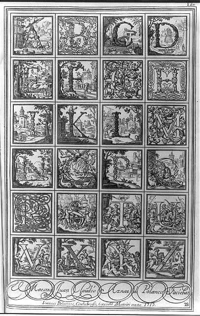 [Alphabet of 24 elaborate calligraphic designs]
