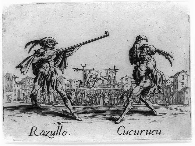 [Razullo with long stringed instrument and Cucurucu dancing]