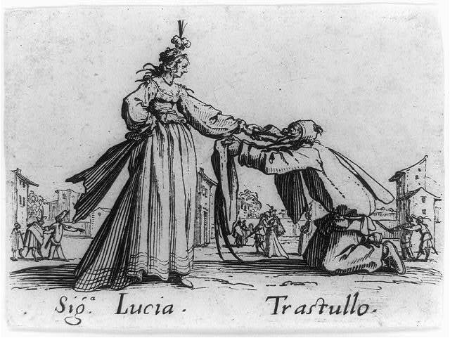 [Trastullo kneeling before Signorina Lucia]