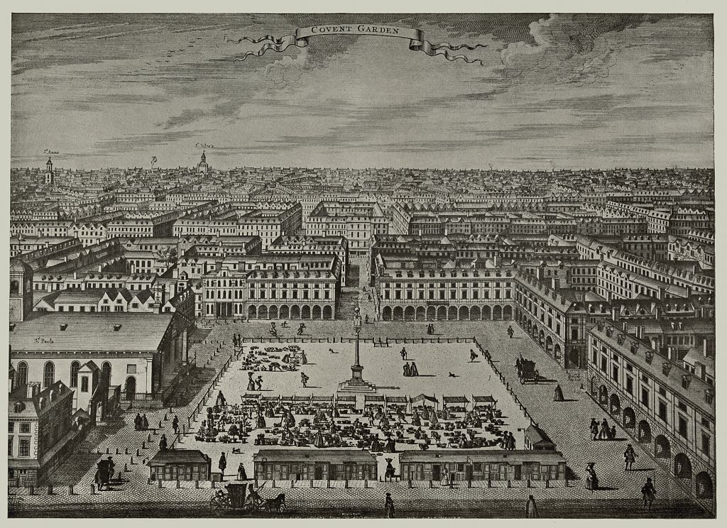 General view of Covent Garden looking north, circa 1720, from an engraving by Sutton Nicholls