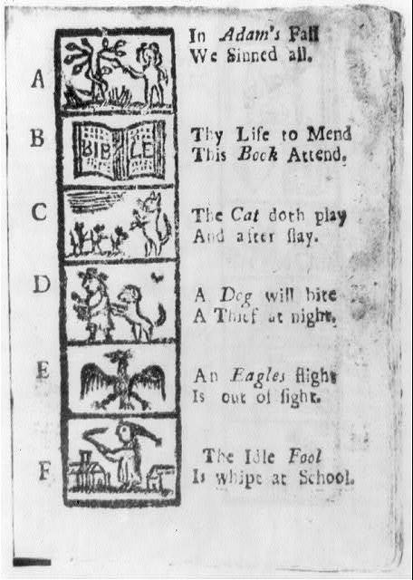 [Page of illustrated alphabet from New England Primer, 1721: letters A through F]