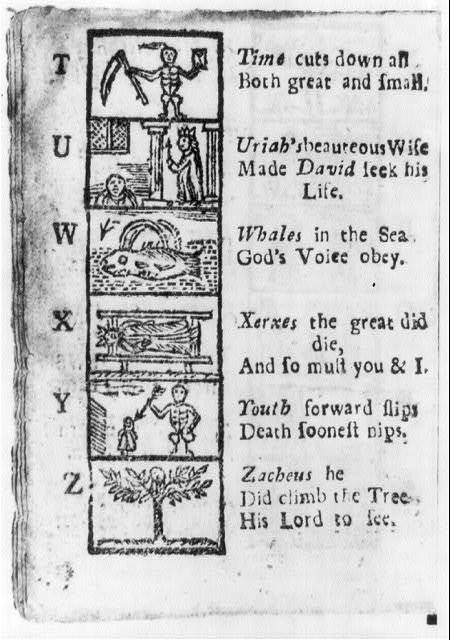 [Page of illustrated alphabet from New England Primer, 1721: letters T through Z]