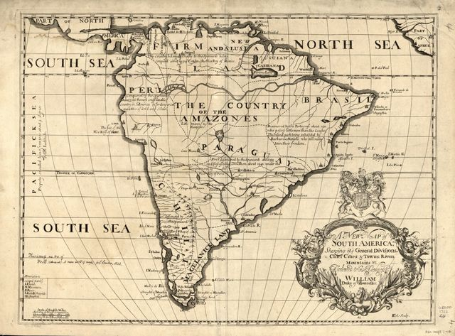 A new map of South America, shewing it's general divisions, chief cities & towns; rivers, mountains & c.