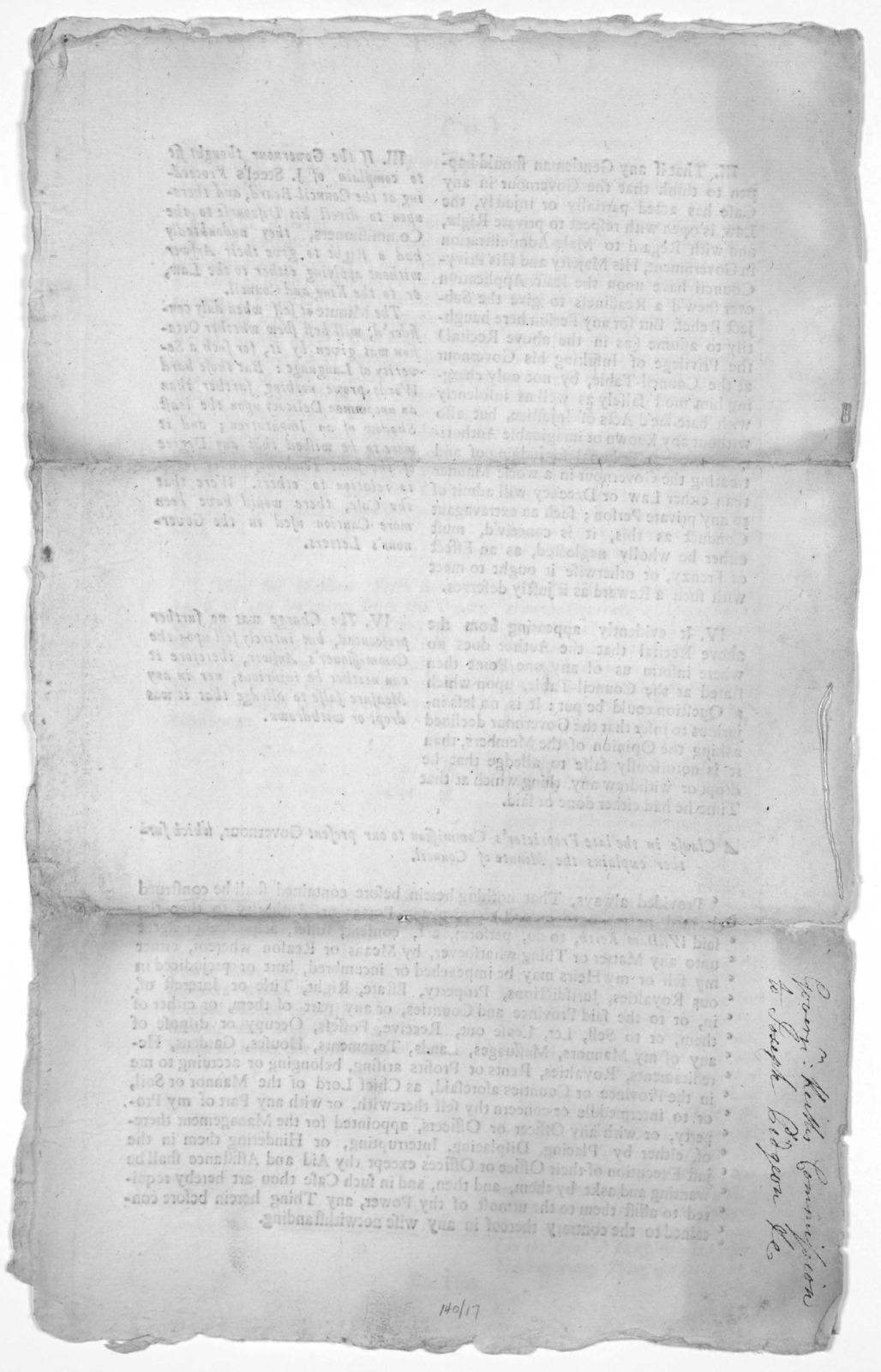 [Governor Keith's commission to Joseph Pidgeon] 1722.