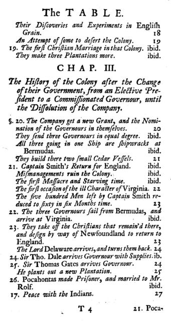 The history of Virginia, in four parts. I. The history of the first settlement of Virginia, and the government thereof, to the year 1706. II. The natural productions and conveniences of the country, suited to trade and improvement. III. The native Indians, their religion, laws, and customs, in war and peace. IV. The present state of the country, as to the polity of the government, and the improvements of the land, the 10th of June 1720.