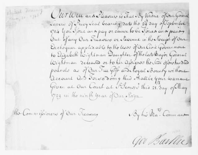 George Baillie to Virginia Congressional Delegates, May 21, 1723. Pay Warrant.