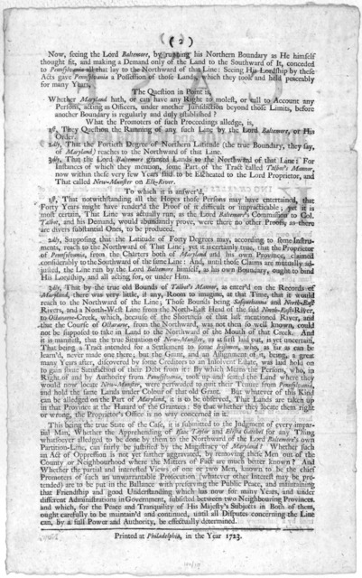 The case of Isaac Taylor and Elisha Gatchel, two officers of Pennsylvania, made prisoners by the Government of Maryland. Printed at Philadelphia [by Andrew Bradford] in the year 1723.