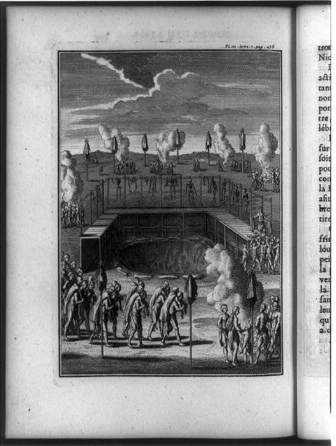 [Native American mortuary customs: row of Indians carrying bodies over their shoulders to fires, platform with skeletons hanging above and bones below on benches, and groups of Indians standing around fires and poles hung with cloth or skins]