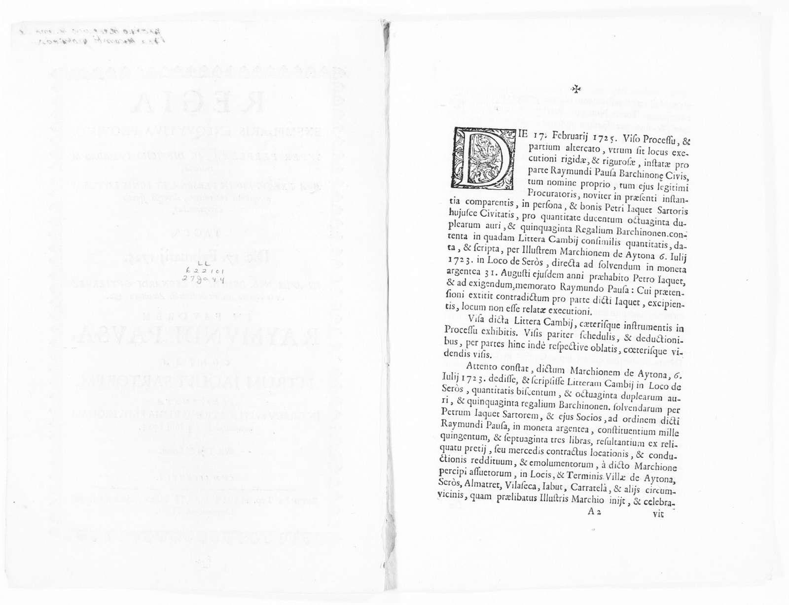 Royal Judgment of February 17, 1725 issued by Leonardo Gutiérrez on behalf Raimundo Pausa in the case against Pedro Jaquet Sartor, concerning payment of certain monetary debt