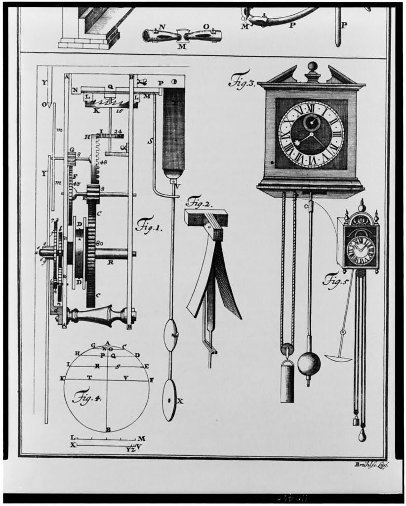 [The mechanical system of a clock driven by weights and pendulum]