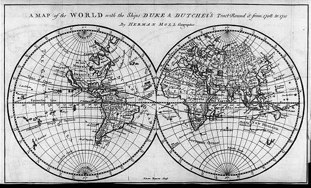 A map of the world with ships DUKE & DUTCHESS' tract round it from 1708 to 1711, by Herman Moll, geographer