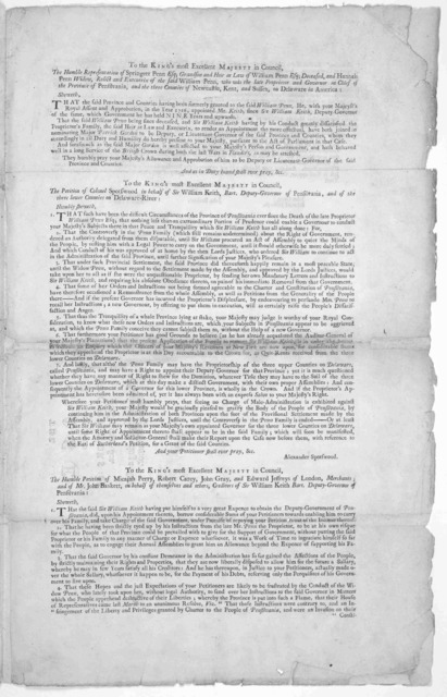 The case of the heir at law and executrix of the late proprietor of Pensilvania, &c. in relation to the removal of Sir William Keith, and the appointing Major Patrick Gordon to succeed him as deputy-governor there. [Philadelphia. Printed by Andr