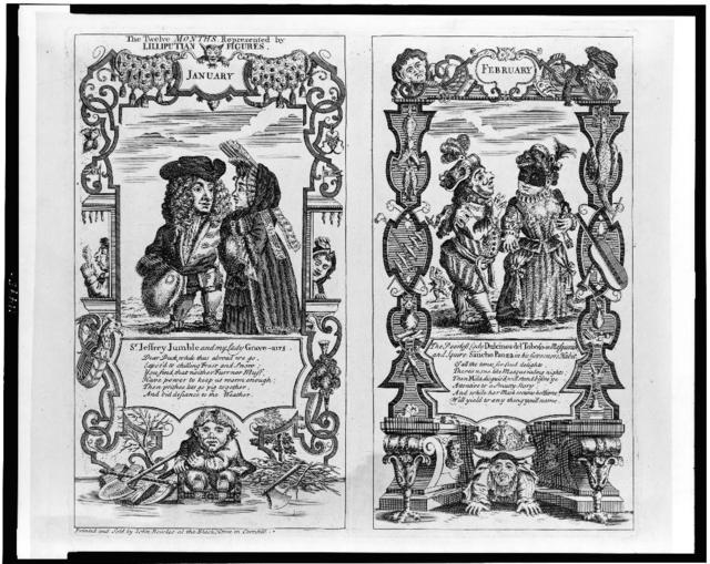 The twelve months represented by Lilliputian figures