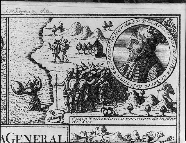 [Vasco Nunez de Balboa taking possession of the Pacific Ocean; with inset bust profile]