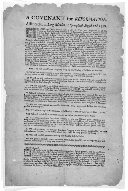 A covenant for reformation assented to in Long-Meadow, in Springfield, August 22d 1728.
