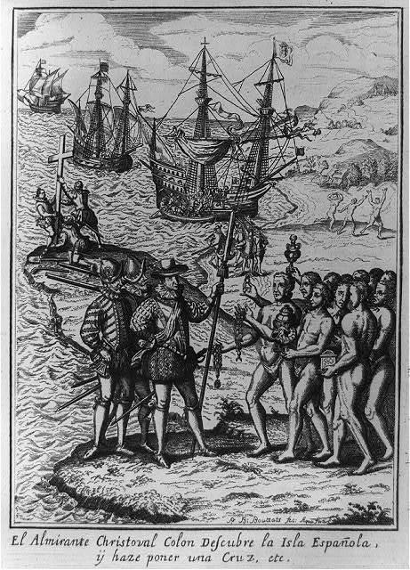 El almirante Christoral Colon descubre la Isla Españ̃ola, iy haze poner una Cruz, etc. / P. B. Bouttats fec., Aqua forti.