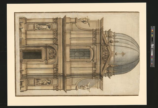 [Church of SS. Claudius and Andrew of the Burgundians, Rome, Italy. Façade. Elevation. Rendering]