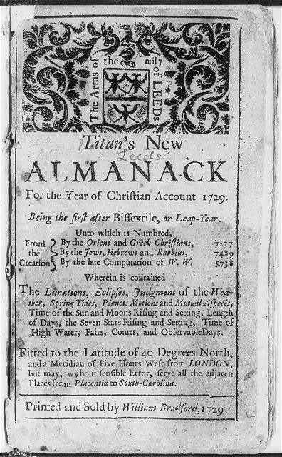 "[Page from 18th Century almanac: t.p. of Titan's New Almanack...1729; illus. with ""the Arms of the Family Leeds""]"