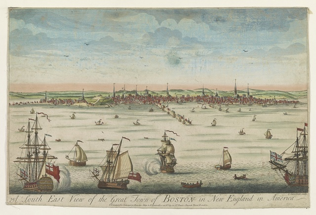 A south east view of the great town of Boston in New England in America / I. Carwitham sculp.