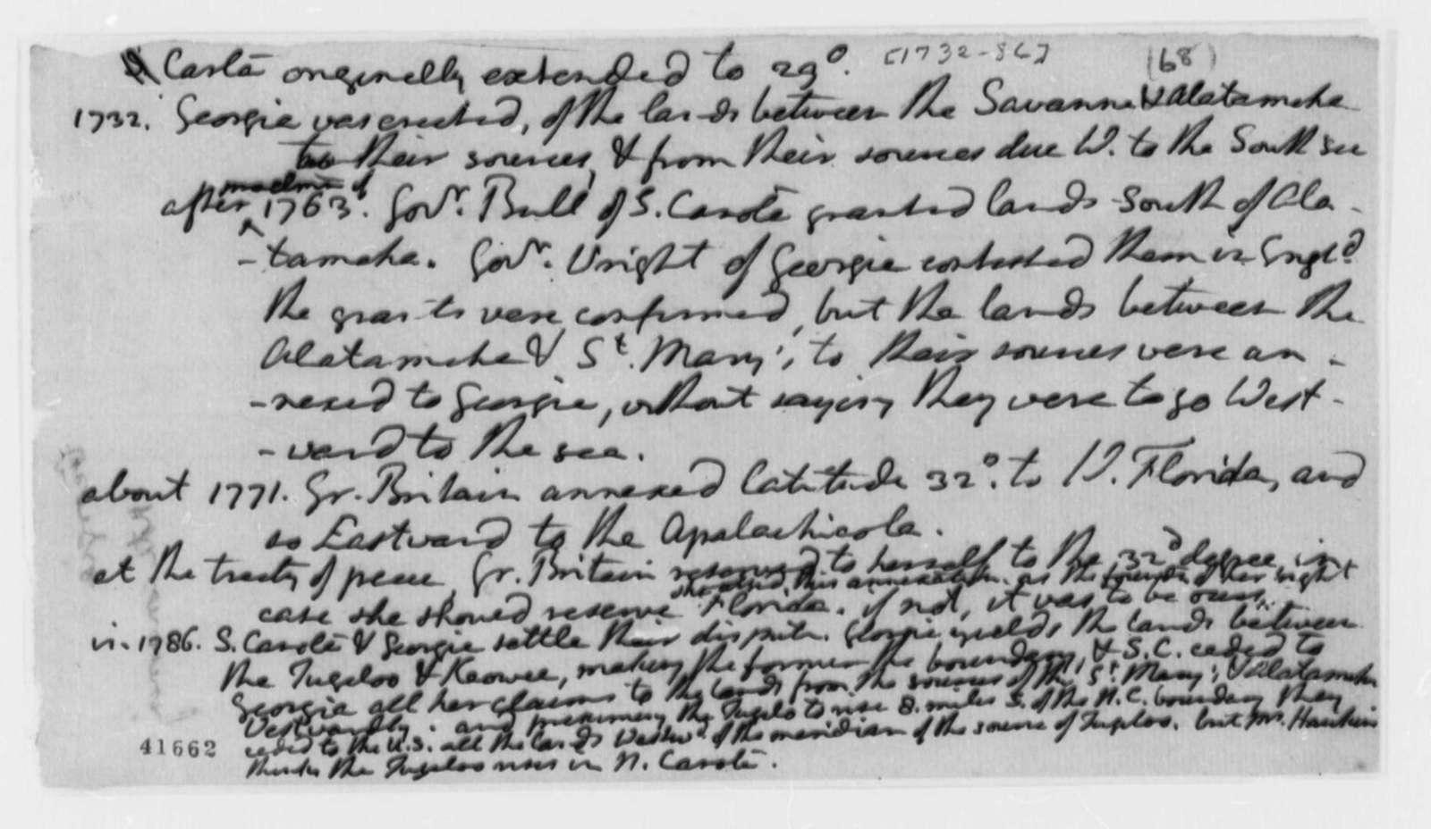Thomas Jefferson, 1732-86, Notes on Georgia History and Boundaries