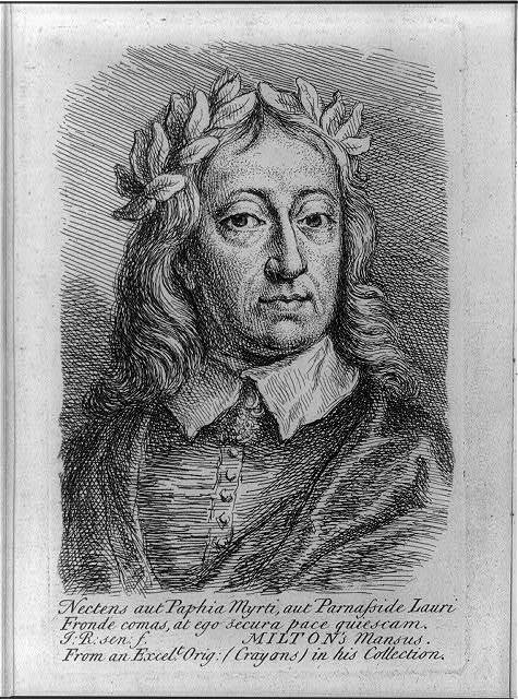 [John Milton, 1608-1674, bust, facing right, wearing laurel crown]