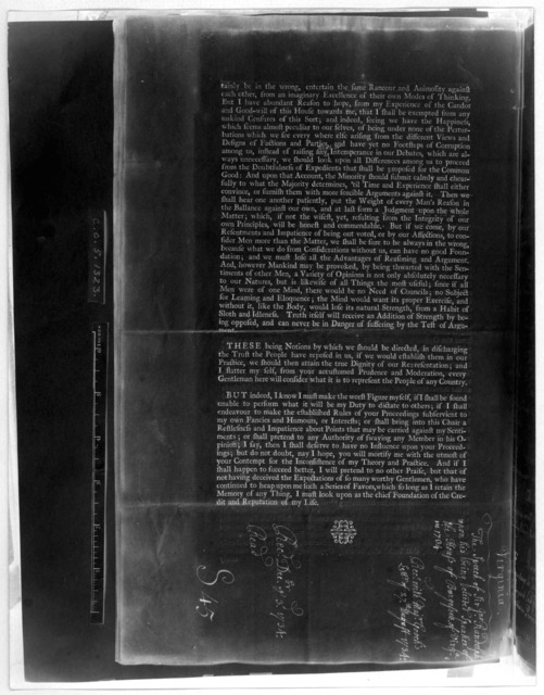 The speech of Sir John Randolph, upon his being elected speaker of the House of Burgesses, of Virginia. Printed by order of the House of Burgesses. Williamsburg: Printed by William Parks. M, DCC,XXXIV. [Negative Photostat.].
