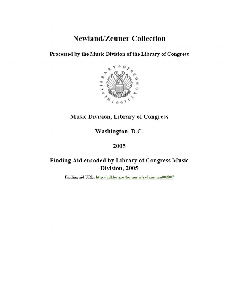 Newland / Zeuner collection
