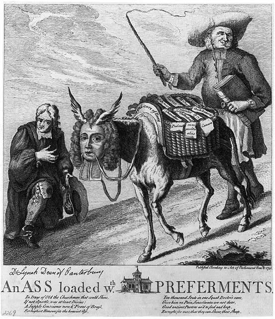 An ass loaded wth. preferments