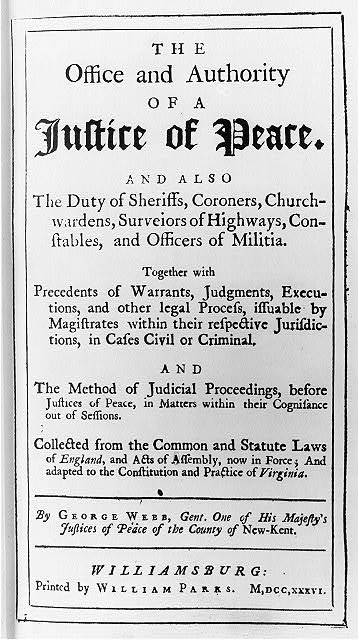 [Illus. from book concerning Justices of the Peace: t.p. of The Office...of a Justice of Peace]
